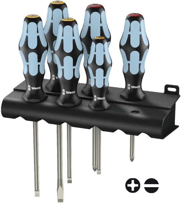 Wera sada šroubováků 3334/6 z nerezové oceli pro šrouby s plochou a křížovou drážkou Philips-Recess + stojánek, 6 dílná