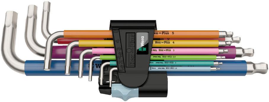 Wera sada zástrčných klíčů 3950/9 Hex-Plus Multicolour Stainless 1, metrická, nerezová ocel, 9 dílná