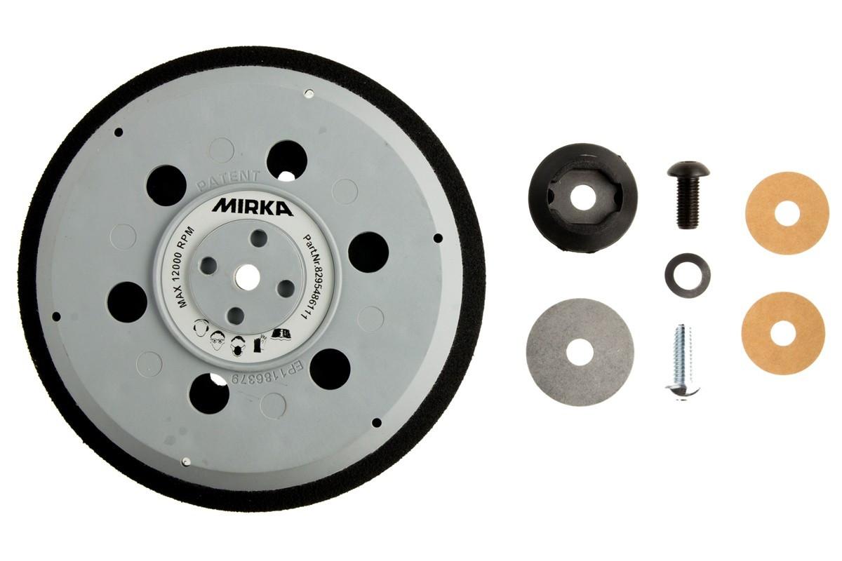 """Univerzální podložný talíř MIRKA pro Abranet Ø 150mm, závit 5/16"""" + M8, 57 děr, střední tvrdost"""