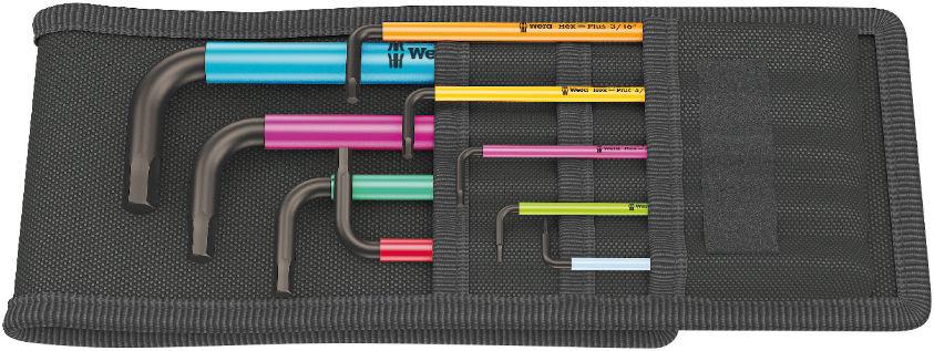 Wera sada zástrčných klíčů 950/9 Hex-Plus Multicolour Imperial 1, palcová, BlackLaser, 9 dílná