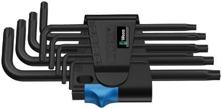 Wera sada zástrčných klíčů s přidržovací funkcí 967/9 TX HF 1 pro šrouby s vnitřním profilem TORX, BlackLaser, 9 dílná