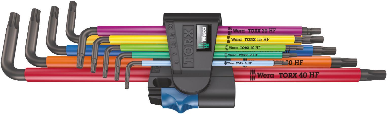 Wera sada dlouhých zástrčných klíčů s přidržovací funkcí 967/9 TX XL Multicolor HF 1 pro šrouby s vnitřním profilem TORX, 9 dílná