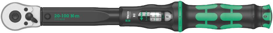 """Momentový klíč Click-Torque B2 s přepínací ráčnou o délce 405mm, připojovací rozměr 1/4"""" pro čtyřhran, nastavitelný moment 20 až 100 Nm"""