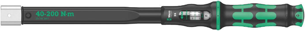 Wera momentový klíč Click-Torque X4 o délce 480mm pro nástrčné nástroje s upnutím 14x18mm, nastavitelný moment 40 až 200 Nm