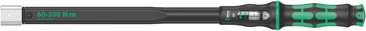 Wera momentový klíč Click-Torque X5 o délce 570mm pro nástrčné nástroje s upnutím 14x18mm, nastavitelný moment 60 až 300 Nm