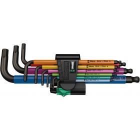 Wera sada zástrčných klíčů 950/9 Hex-Plus Multicolour 1, metrická, BlackLaser, 9 dílná
