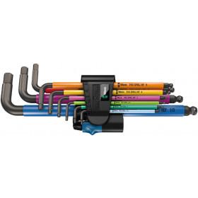Wera sada zástrčných klíčů 950/9 Hex-Plus Multicolour HF 1 s přidržovací funkcí, metrická, BlackLaser, 9 dílná